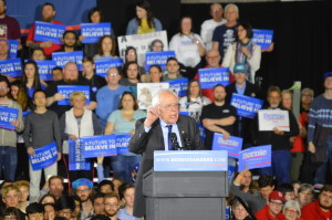 Democratic candidate Bernie Sanders rally in Madison, WI on March 30, 2016. Photo Credit Kelly Wang WSUM