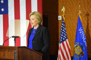 Clinton speaks at a private event at UW-Madison. Photo Credit Kelly Wang WSUM