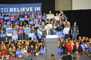 Democratic candidate Bernie Sanders rally at Alliant Energy Center in Madison, WI on March 30, 2016. Photo Credit Kelly Wang WSUM