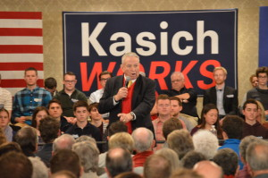 Former Wisconsin Governor Tommy Thompson endorses John Kasich at town hall meeting in Madison. Photo Credit Kelly Wang WSUM