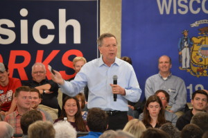 Republican candidate Joh Kasich speaks at town hall meeting in Madison, WI. Photo Credit Kelly Wang WSUM